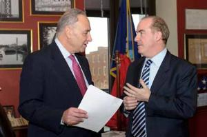 Senator Chuck Schumer pictured with Ciaran Staunton of the Irish Lobby for Immigration Reform in DC on Tuesday