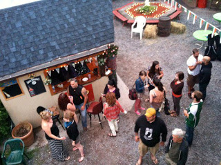 Dawn at the Blackthorne, after playing all night. I'm in the red shirt, facing away.