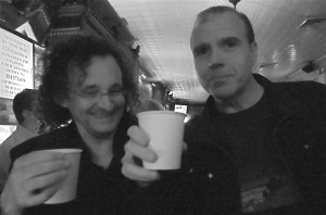 Teetotalling lads Martin Hayes and Kevin Crawford drink tea after the concert last June,  at 11th Street Bar