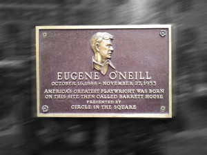 Eugen O'Neill historical plaque at 1500 Broadway (Times Square), New York City.