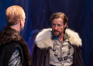 Pericles, Prince of Tyre (Jon Barker) confides in Helicanus (John Hickok). Photo:  ©Jerry Dalia