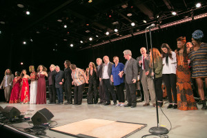 "Curtain Call for ""Ireland Rising, Words and Music for a New Century. Symphony Space, NYC. The Irish Arts Center. Friday, April 22, 2016. Credit Photo: Erin Baiano"