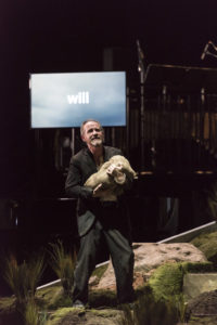 "Iarla Ó Lionáird, as the Man, performs in ""The Hunger."" (Photo courtesy of Jack Vartoogian/BAM)"