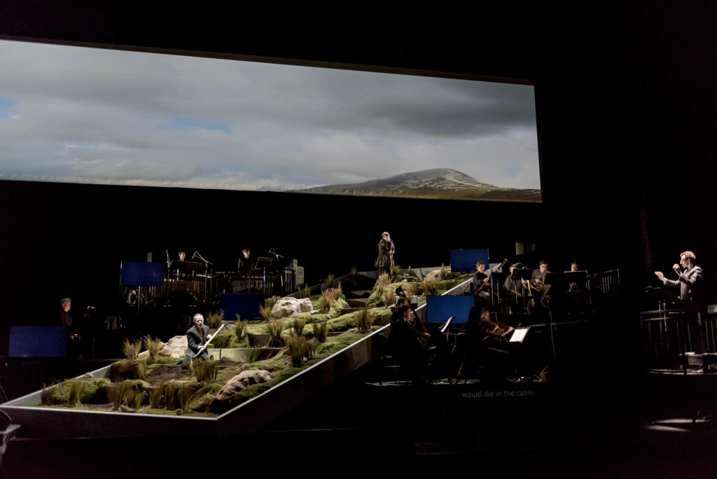 """The stage and full ensemble of """"The Hunger."""" (Photo courtesy of Jack Vartoogian/BAM)"""